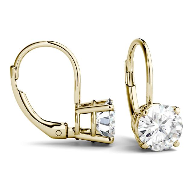 2.00 CTW Round Forever One Moissanite Leverback Earrings in 14K Yellow Gold