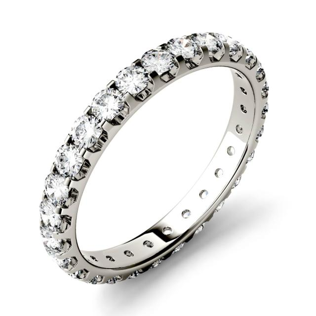 0.96 CTW DEW Round Forever One Moissanite Eternity Band in 14K White Gold