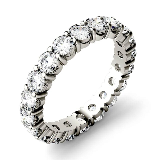 1.90 CTW DEW Round Forever One Moissanite Shared Prong Eternity Band in 14K White Gold
