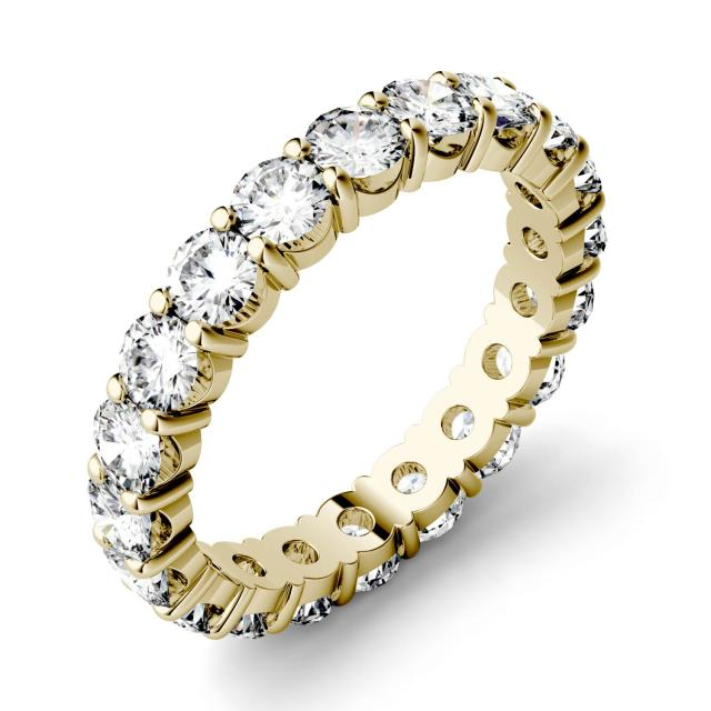 1.90 CTW DEW Round Forever One Moissanite Shared Prong Eternity Band in 14K Yellow Gold
