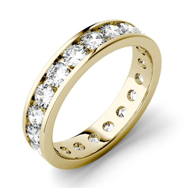 2.00 CTW DEW Round Forever One Moissanite Channel Set Eternity Band in 14K Yellow Gold