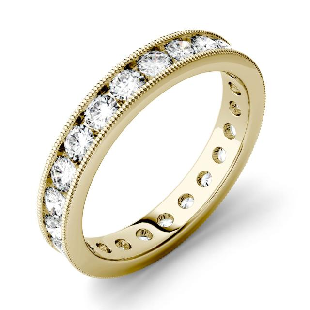 1.44 CTW DEW Round Forever One Moissanite Milgrain Channel Set Eternity Band in 14K Yellow Gold