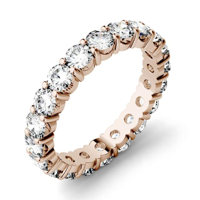 1.90 CTW DEW Round Forever One Moissanite Shared Prong Eternity Band in 14K Rose Gold