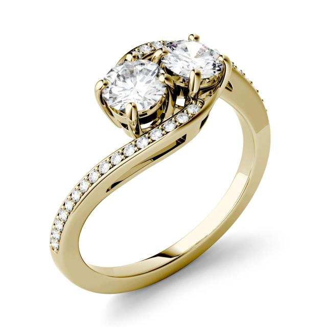 1.16 CTW DEW Round Forever One Moissanite Two Stone Bypass Ring in 14K Yellow Gold