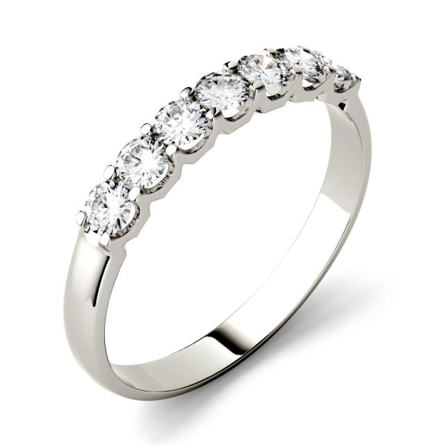 0.42 CTW DEW Round Forever One Moissanite Shared Prong Seven Stone Band in 14K White Gold