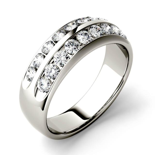 0.72 CTW DEW Round Forever One Moissanite Double Row Anniversary Band in 14K White Gold