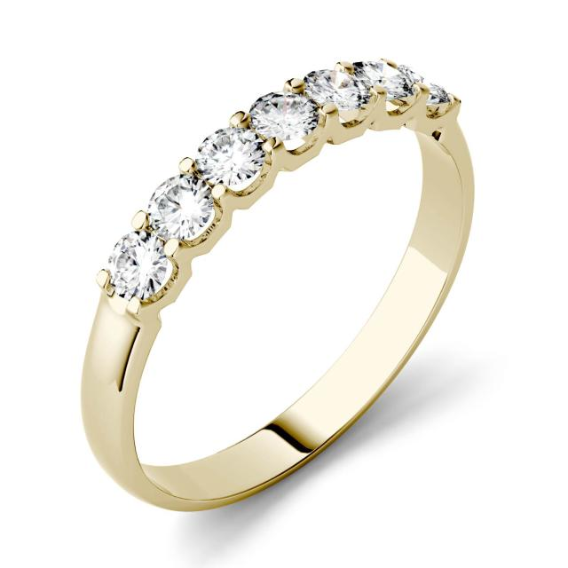 Forever One 0.42CTW Round Moissanite Shared Prong Seven Stone Band in 14K Yellow Gold
