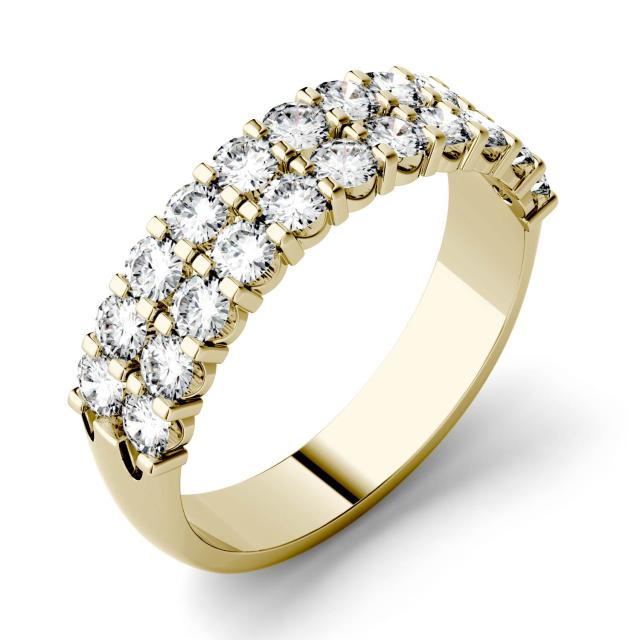 1.32 CTW DEW Round Forever One Moissanite Double Row Anniversary Band in 14K Yellow Gold
