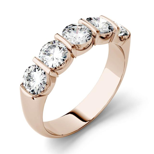 1.65 CTW DEW Round Forever One Moissanite Five Stone Band in 14K Rose Gold
