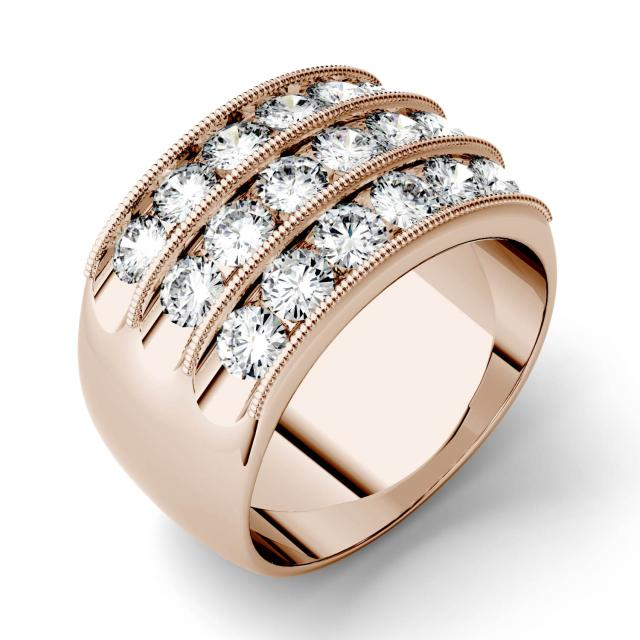 2.88 CTW DEW Round Forever One Moissanite Triple Row Anniversary Band in 14K Rose Gold