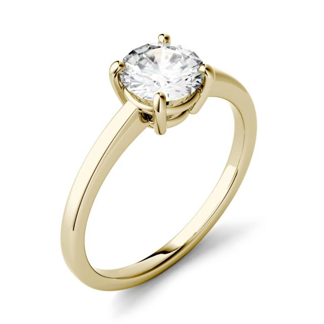 1.00 CTW DEW Round Forever One Moissanite Four Prong Solitaire Engagement Ring in 14K Yellow Gold