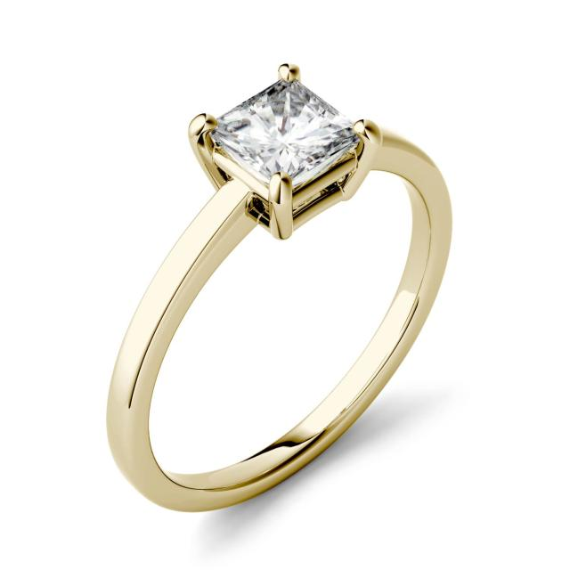 Forever One 1.00CTW Square Moissanite Four Prong Solitaire Engagement Ring in 14K Yellow Gold