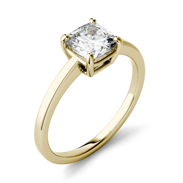 3.30 CTW DEW Cushion Forever One Moissanite Four Prong Solitaire Engagement Ring in 14K Yellow Gold