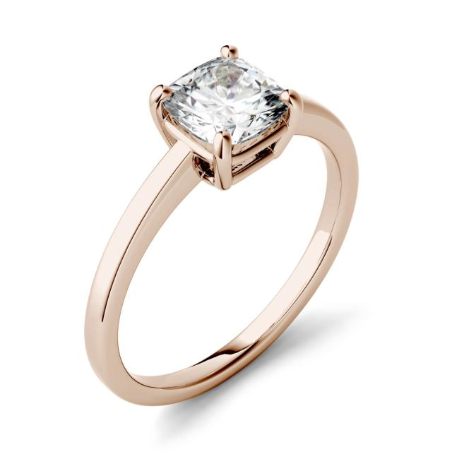 3.30 CTW DEW Cushion Forever One Moissanite Four Prong Solitaire Engagement Ring in 14K Rose Gold