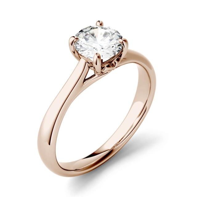 Forever One 1.00CTW Round Moissanite Four Prong Solitaire Scroll Engagement Ring in 14K Rose Gold