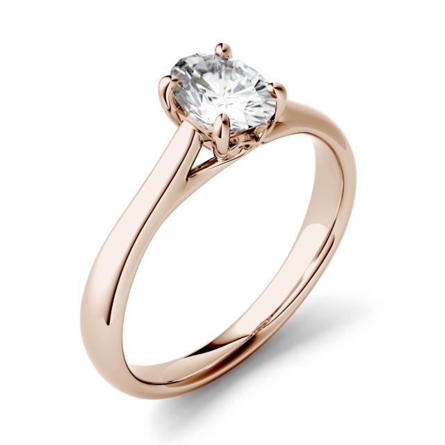 Forever One 2.10CTW Oval Moissanite Four Prong Solitaire Engagement Ring in 14K Rose Gold
