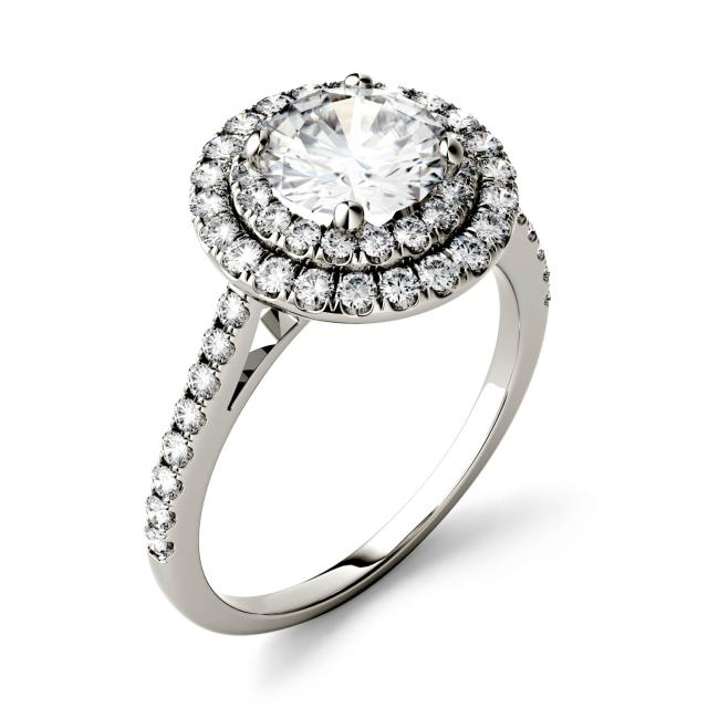 1.27 CTW DEW Round Forever One Moissanite Halo with Side Accents Ring in 14K White Gold