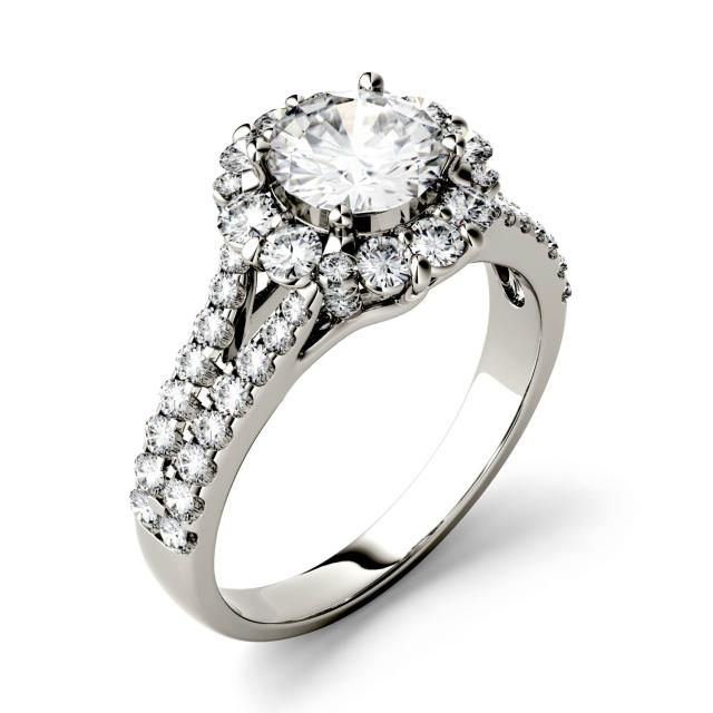 1.88 CTW DEW Round Forever One Moissanite Split Shank Halo with Side Accents Ring in 14K White Gold