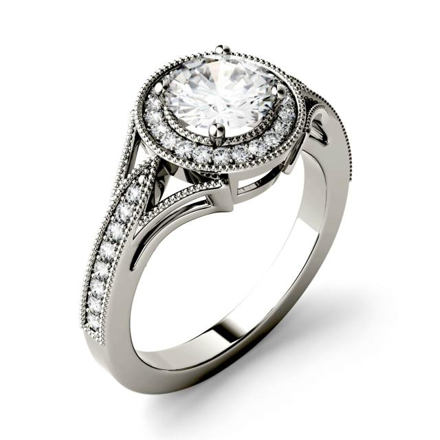 Forever One 1.23CTW Round Moissanite Milgrain Halo with Side Accents Engagement Ring in 14K White Gold