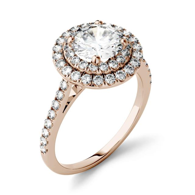 1.27 CTW DEW Round Forever One Moissanite Halo with Side Accents Ring in 14K Rose Gold