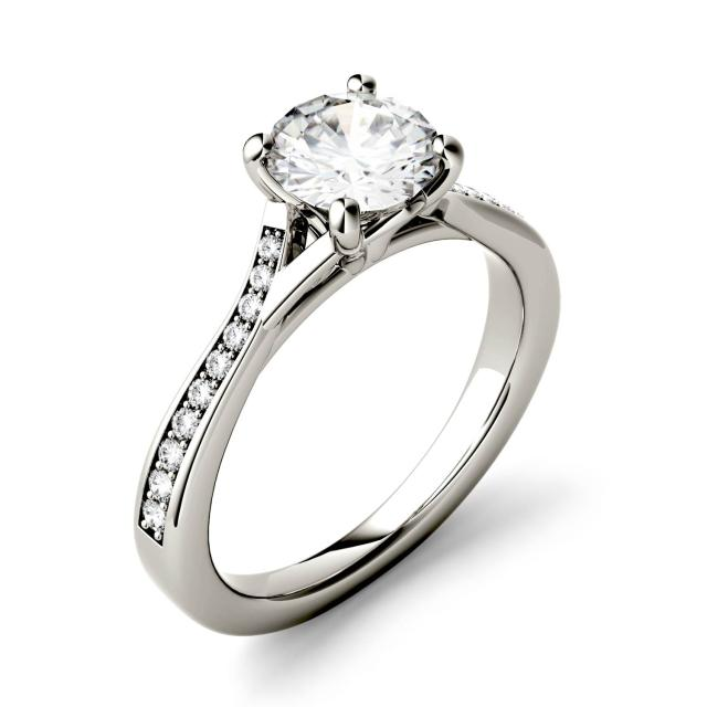 Forever One 1.13CTW Round Moissanite Solitaire with Side Accents Engagement Ring in 14K White Gold