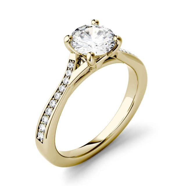 Forever One 1.13CTW Round Moissanite Solitaire with Side Accents Engagement Ring in 14K Yellow Gold