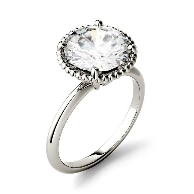 Forever One 0.60CTW Round Moissanite Beaded Solitaire Engagement Ring in 14K White Gold