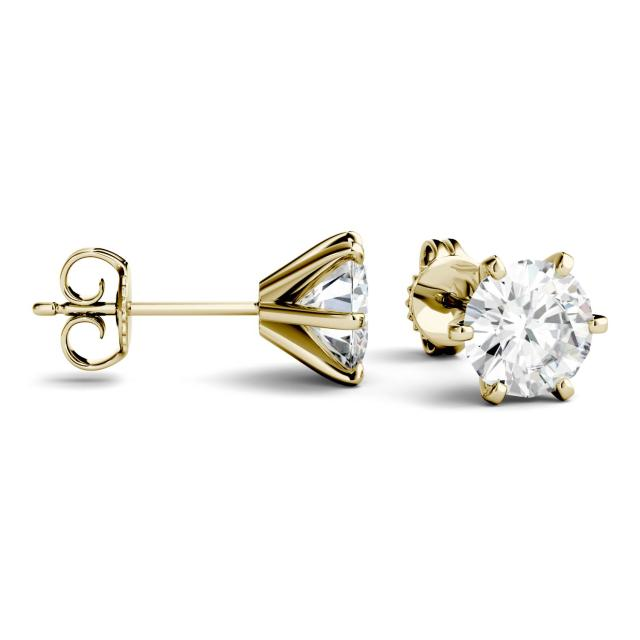 1.00 CTW Round Forever One Moissanite Six Prong Stud Earrings in 14K Yellow Gold