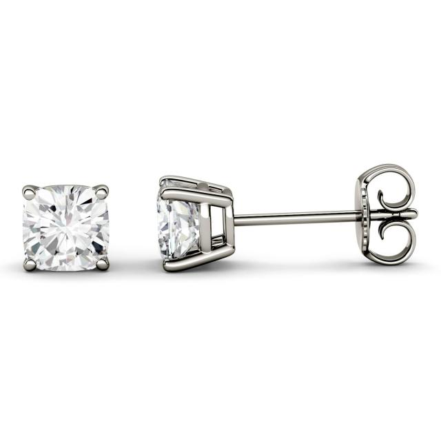 2.60 CTW DEW Cushion Forever One Moissanite Four Prong Solitaire Stud Earrings in 14K White Gold