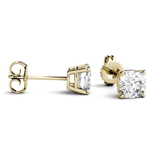 1.00 CTW Cushion Forever One Moissanite Four Prong Solitaire Stud Earrings in 14K Yellow Gold