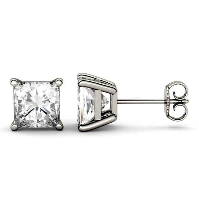 3.40 CTW DEW Square Forever One Moissanite Four Prong Solitaire Stud Earrings in 14K White Gold