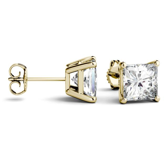 3.00 CTW Princess Forever One Moissanite Four Prong Solitaire Stud Earrings in 14K Yellow Gold
