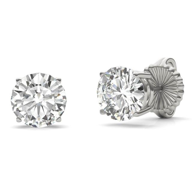 3.80 CTW Round Forever One Moissanite Four Prong Solitaire Stud Earrings in 14K White Gold