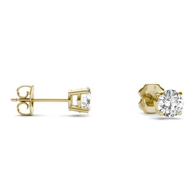 1.00 CTW Round Forever One Moissanite Four Prong Solitaire Stud Earrings in 14K Yellow Gold
