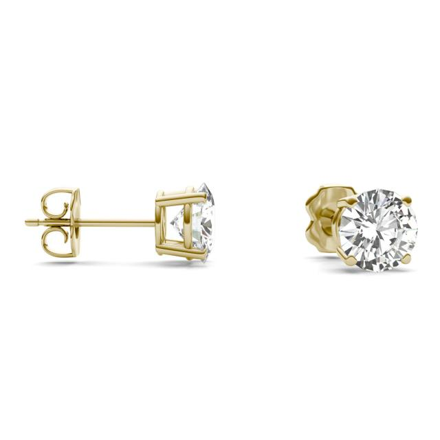2.08 CTW Round Forever One Moissanite Solitaire Stud Earrings in 14K Yellow Gold