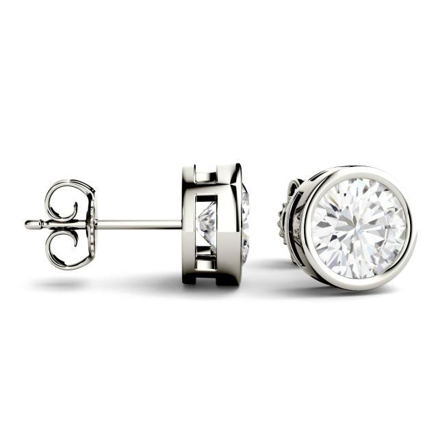 2.00 CTW Round Forever One Moissanite Bezel Set Solitaire Stud Earrings in 14K White Gold