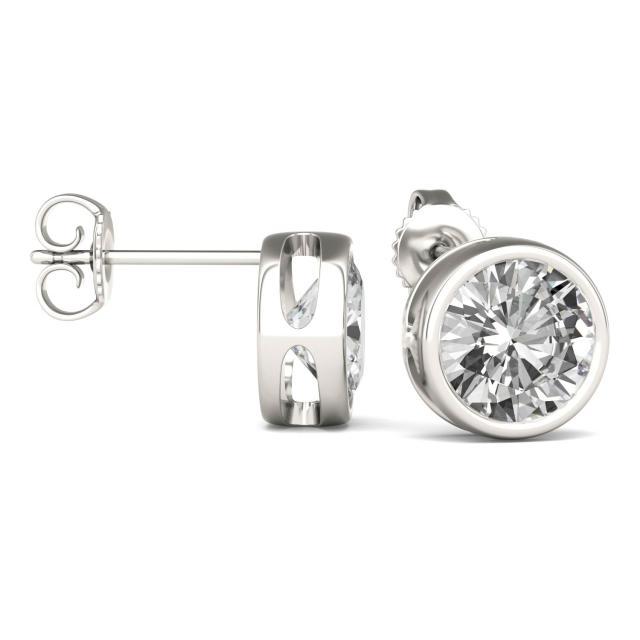 3.00 CTW Round Forever One Moissanite Bezel Set Solitaire Stud Earrings in 14K White Gold