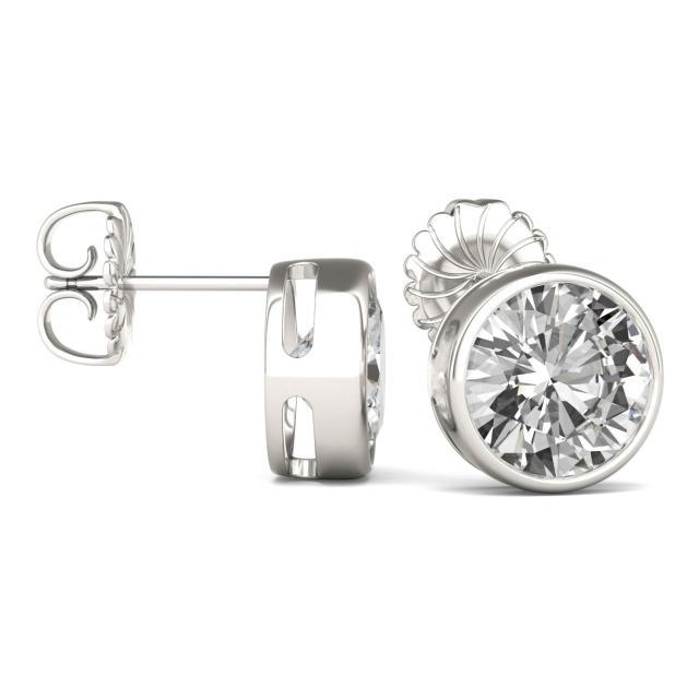 3.80 CTW Round Forever One Moissanite Bezel Set Solitaire Stud Earrings in 14K White Gold