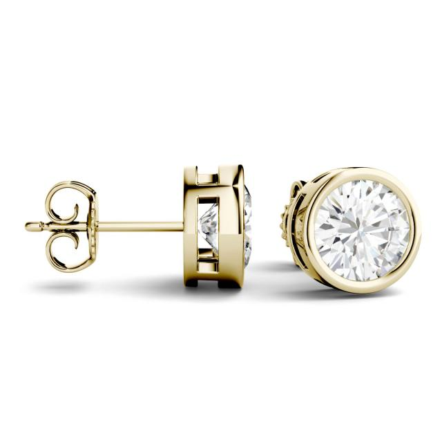 2.00 CTW Round Forever One Moissanite Bezel Set Solitaire Stud Earrings in 14K Yellow Gold