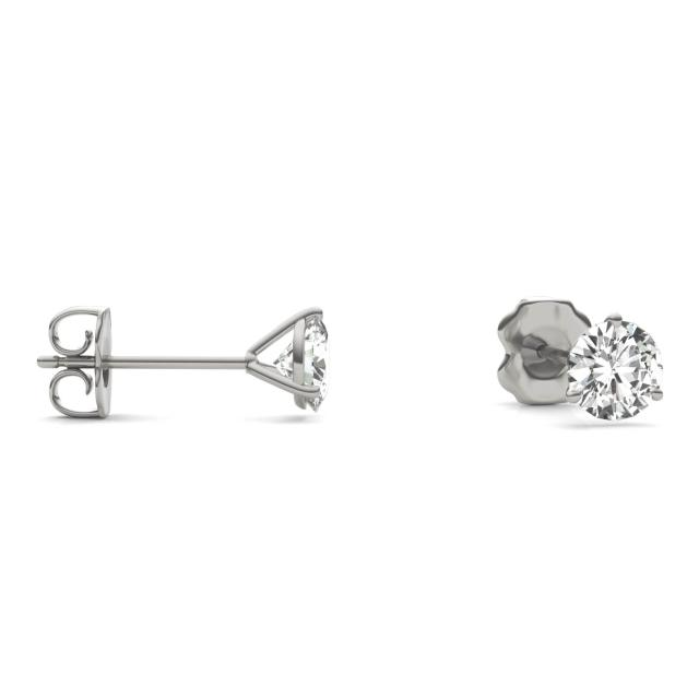 1.00 CTW Round Forever One Moissanite Three Prong Martini Solitaire Stud Earrings 14K White Gold