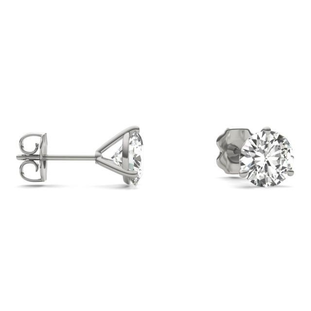 3.00 CTW Round Forever One Moissanite Three Prong Martini Solitaire Stud Earrings 14K White Gold