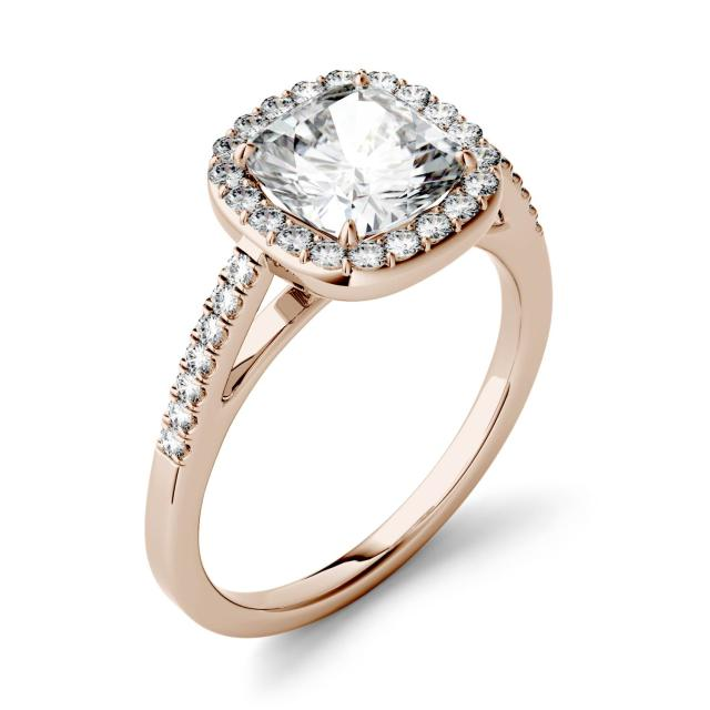 1.97 CTW DEW Cushion Forever One Moissanite Halo with Side Accents Engagement Ring in 14K Rose Gold