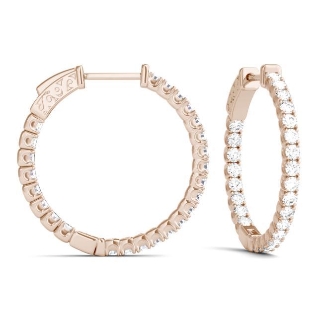 1.00 CTW Round Forever One Moissanite Hoop Earrings in 14K Rose Gold