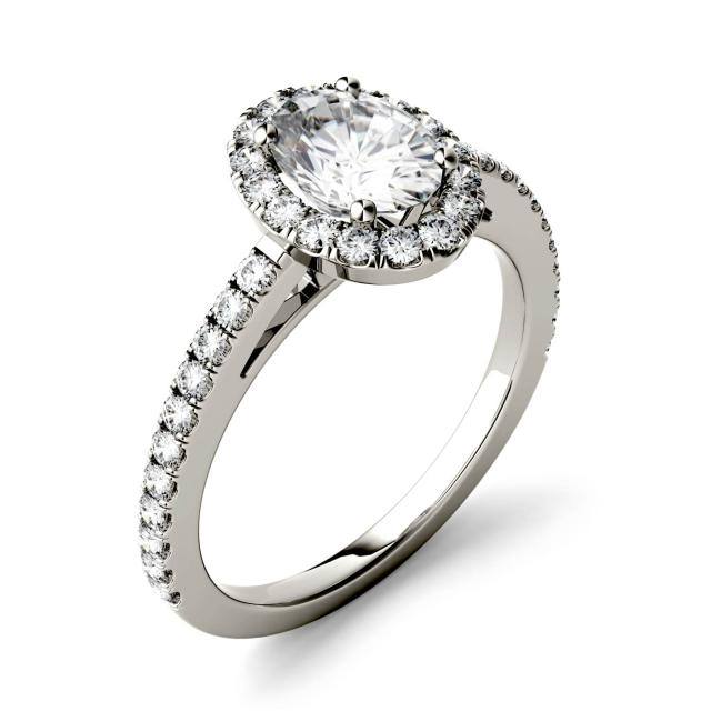 1.28 CTW DEW Oval Forever One Moissanite Halo with Side Accents Engagement Ring in 14K White Gold