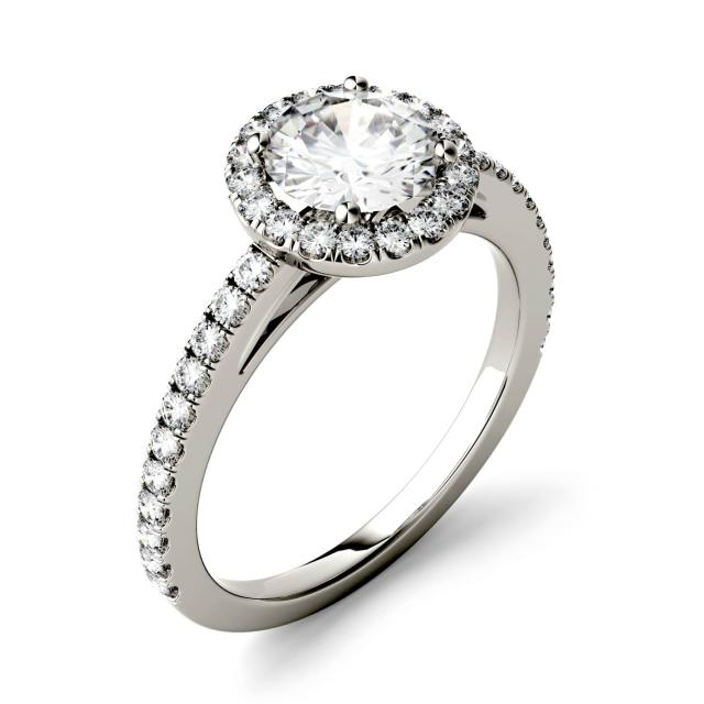 1.40 CTW DEW Round Forever One Moissanite Halo with Side Accents Engagement Ring in 14K White Gold