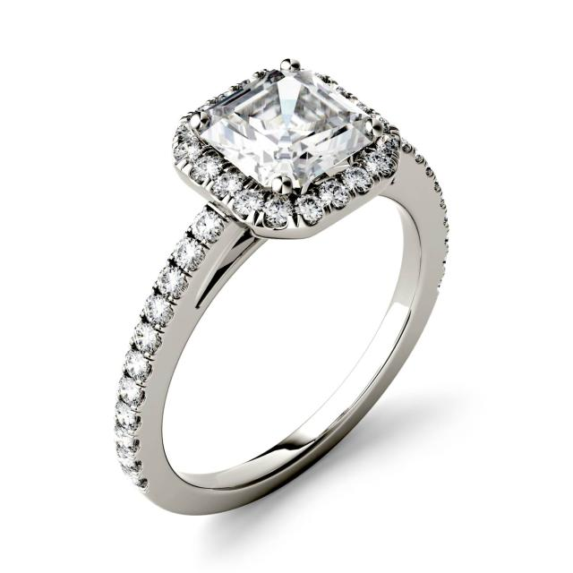 1.71 CTW DEW Asscher Forever One Moissanite Halo with Side Accents Engagement Ring in 14K White Gold