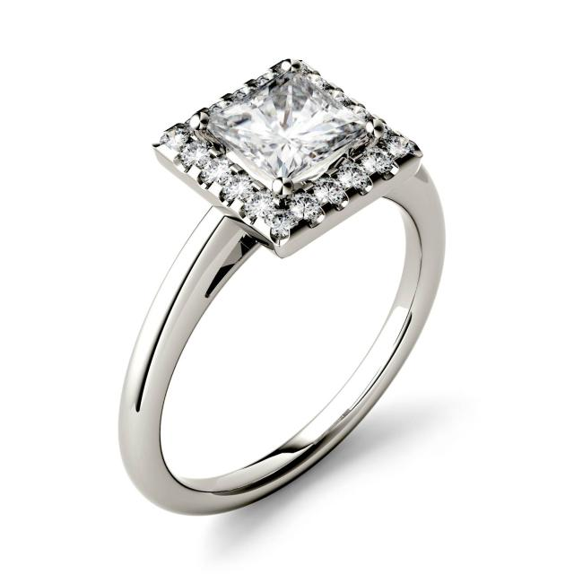 Forever One 1.10CTW Princess Moissanite Halo Engagement Ring in 14K White Gold
