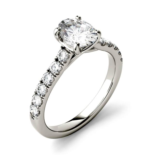 1.26 CTW DEW Oval Forever One Moissanite Solitaire with Side Accents Engagement Ring in 14K White Gold