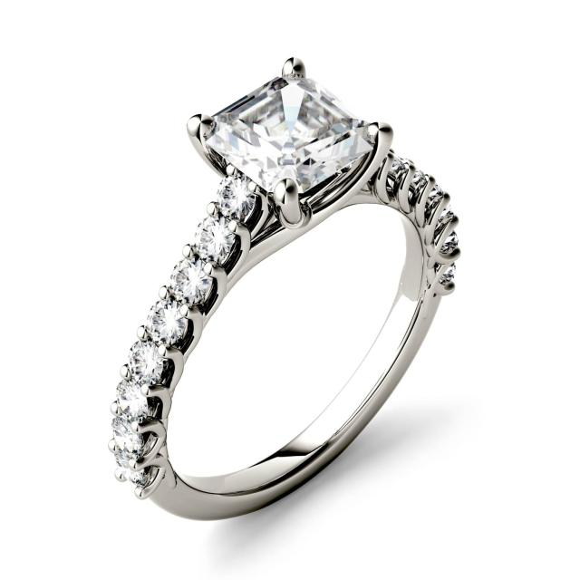 1.78 CTW DEW Asscher Forever One Moissanite Solitaire with Side Accents Engagement Ring in 14K White Gold