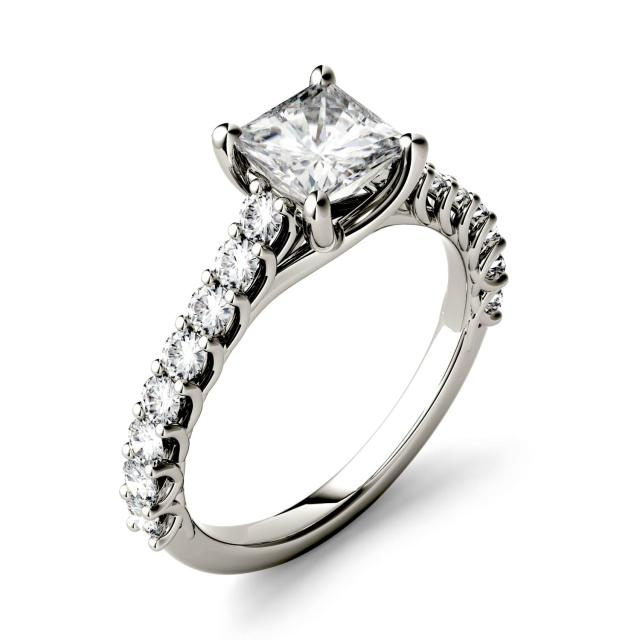 1.48 CTW DEW Square Forever One Moissanite Solitaire with Side Accents Engagement Ring in 14K White Gold